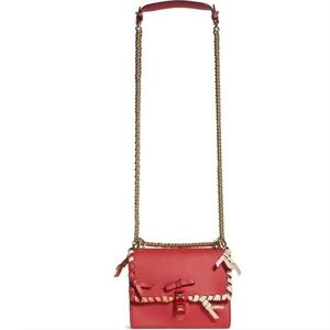 Fendi Small Kan Whipstitch Red Leather